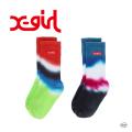 X-girl  エックスガール BOX LOGO EMBROIDERED SOCKS 105215054028 ボックスロゴ刺繍 ソックス レディース 靴下 XGIRL 正規販売店