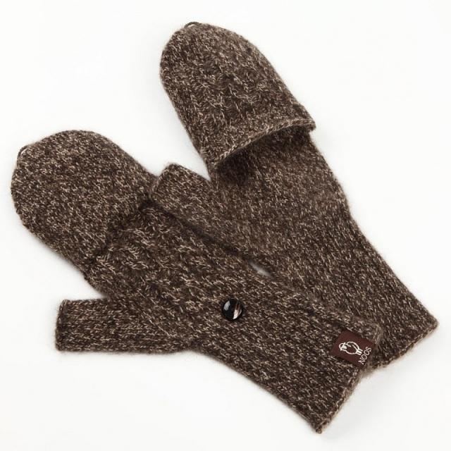 NOOS カバーミトン モンゴル国産 天然ヤク キャメル 手袋 編み模様 レディース