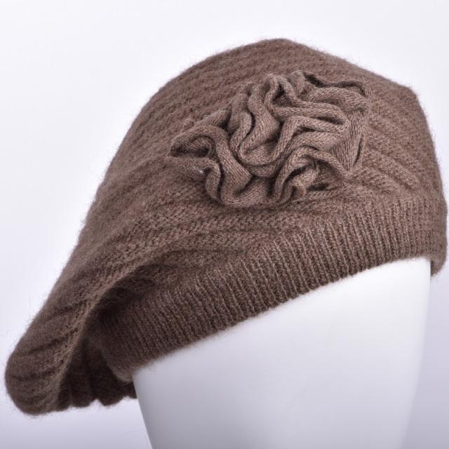 ヤク レディース帽子 モンゴル国産 天然ヤク 100% 女性用 花付き