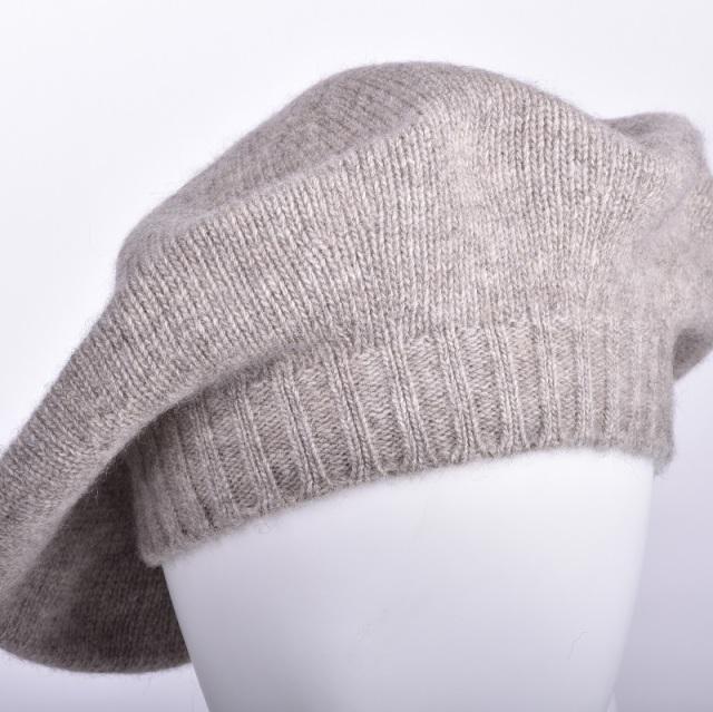 NOOS ヤクニットキャップ グレー モンゴル国産 天然ヤク レディース ベレー帽