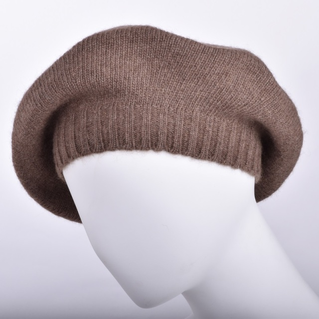 NOOS ヤクニットキャップ ブラウン モンゴル国産 天然ヤク レディース ベレー帽