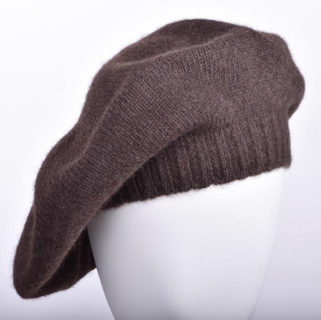 NOOS ヤクニットキャップ ダークブラウン モンゴル国産 天然ヤク レディース ベレー帽