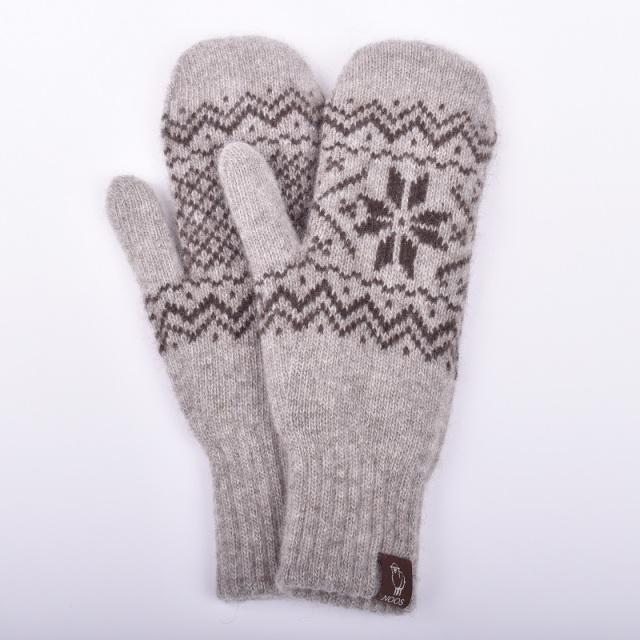 NOOS ヤクミトン手袋(雪柄) モンゴル国産 天然ヤク レディース