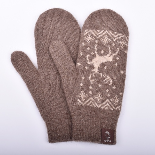 NOOS ヤクミトン手袋(しか柄) モンゴル国産 天然ヤク レディース