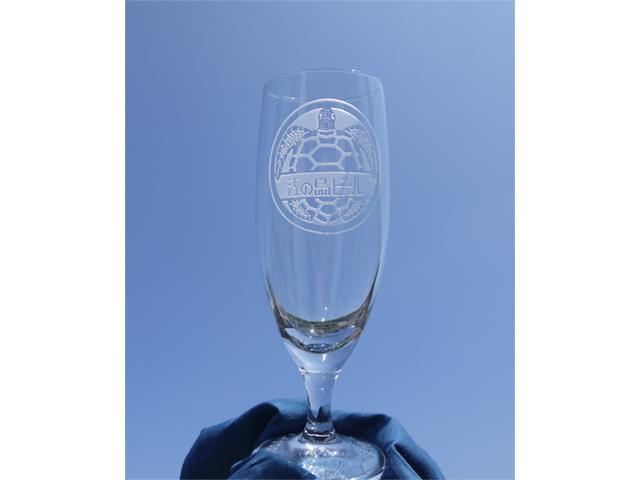 江の島ビールとブラストでロゴとメッセージが入る世界に一つだけのオリジナルお名前入りグラス