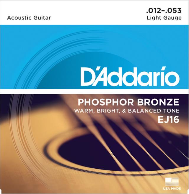 D'Addario/EJ16 アコースティックギター弦 012~053【ダダリオ】【フォスファーブロンズ】【在庫あり】
