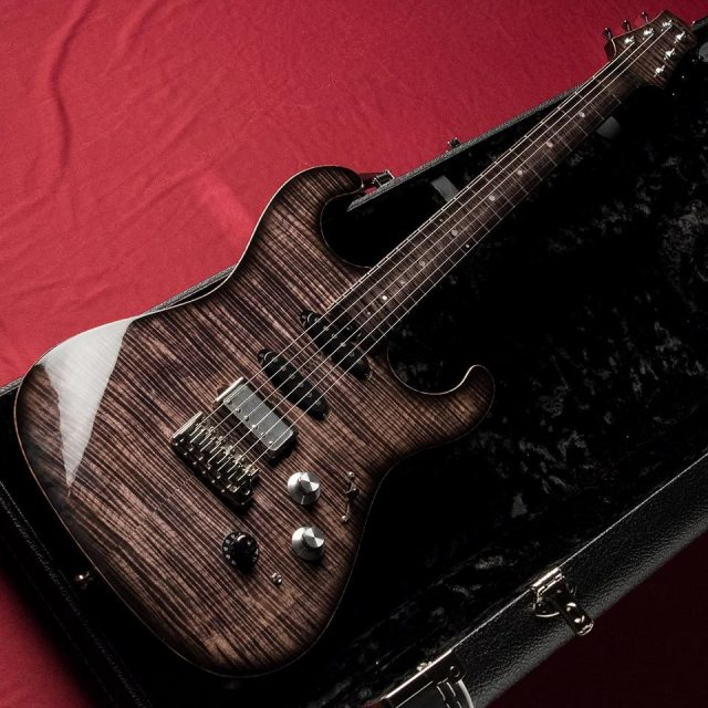 Asher Guitars/S Custom Flame Maple Top/Finger Board (Faded Black)【在庫あり】