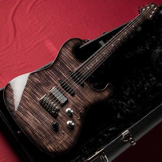 Asher Guitars/S Custom Flame Maple Top/Finger Board (Faded Black)【在庫あり】