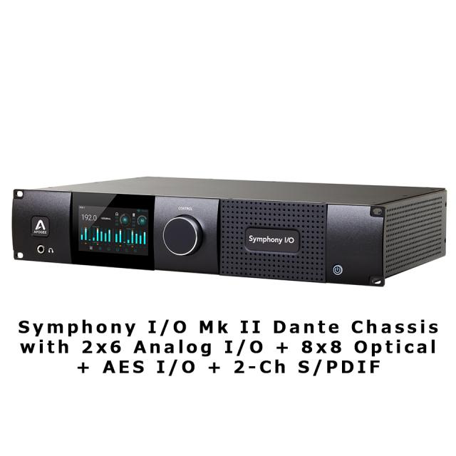 APOGEE/Symphony I/O Mk II Dante Chassis with 2x6 Analog I/O + 8x8 Optical + AES I/O + 2-Ch S/PDIF