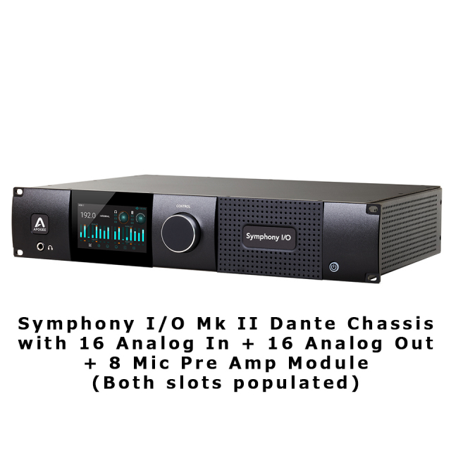 APOGEE/Symphony I/O Mk II Dante Chassis with 16 Analog In + 16 Analog Out + 8 Mic Pre Amp Module (Bo