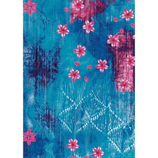 デコパッチペーパー ピンク小花柄ブルー系