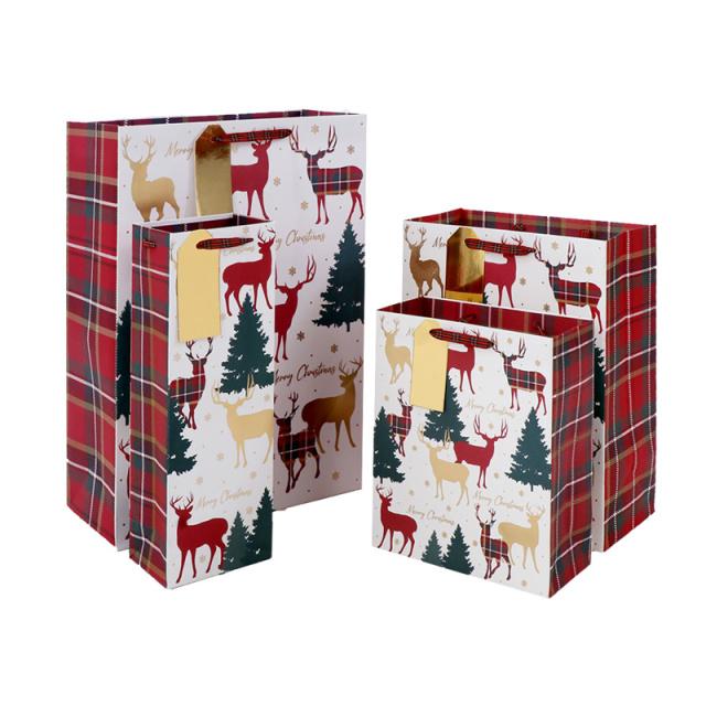 クリスマスペーパーバッグ Stag tartan/トナカイ