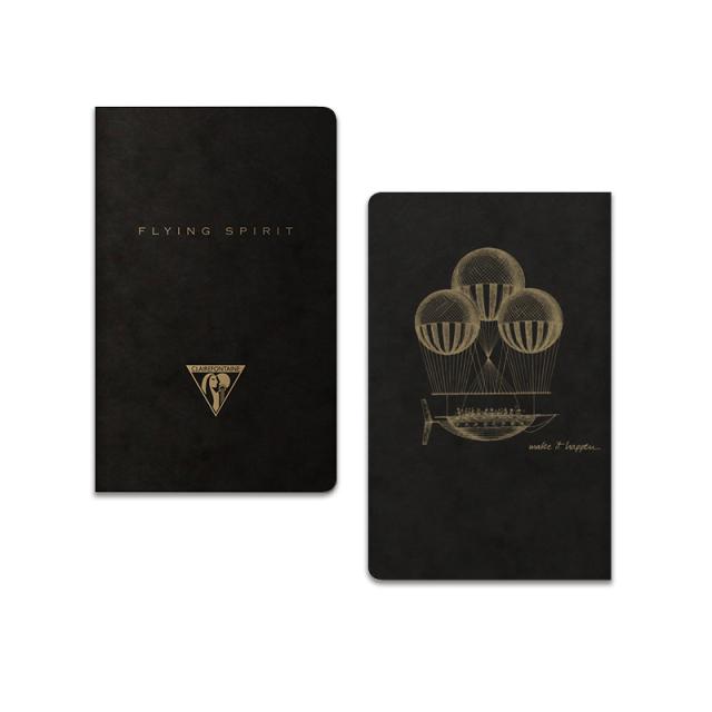 フライングスピリット 糸綴じノート 7.5×12 ブラック