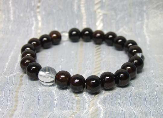 念珠ブレスレット縞黒檀8mm珠 水晶仕立