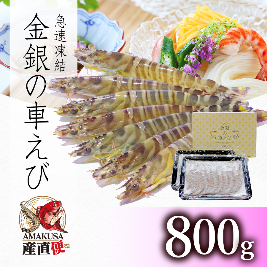 <水産物応援商品SU00011>送料無料 急速凍結車海老800g(32-40尾)
