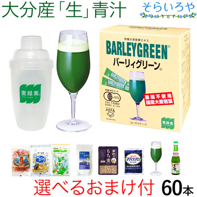 バーリィグリーン 60本 シェイカー&おまけ付 大分産の大麦若葉の生青汁 バーリーグリーン
