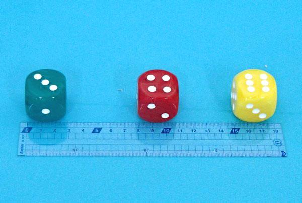 サイコロ 30mmキャタリン樹脂 赤・黄・緑の3個組(30K)