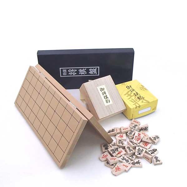 木製将棋セット 新桂4号折将棋盤とくっきり太字書体の特選将棋駒(裏赤)