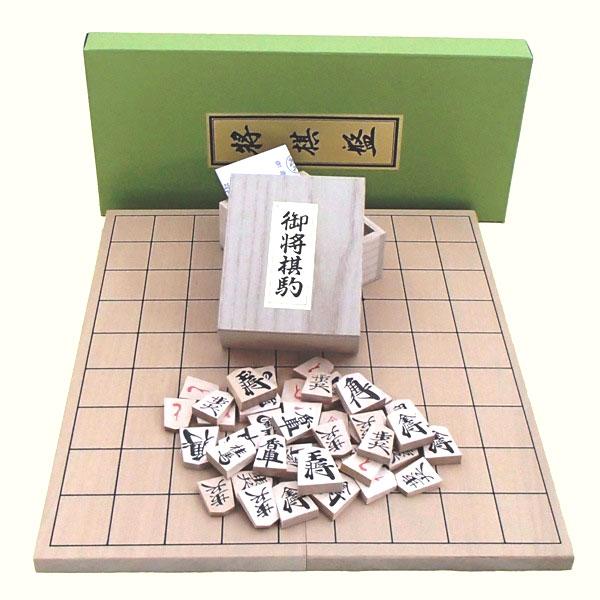 新桂5号折将棋盤と上別製源平駒の将棋盤セット