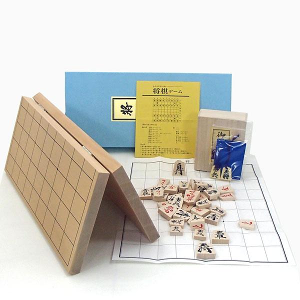 囲碁ラボオリジナルP製根付け2個付 新桂6号折将棋盤と優良押将棋駒木製将棋セット