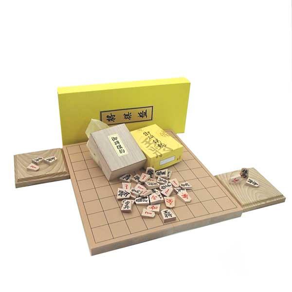 人気の木製将棋セット P製根付け付新桂7号折将棋盤と木製特選将棋駒に栓駒台付