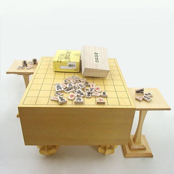 エコ足付将棋盤5寸と木製特選将棋駒に駒台付