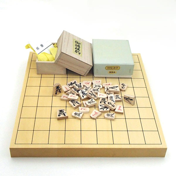 将棋セット ヒバ1寸卓上接合将棋盤竹と木製特製源平将棋駒