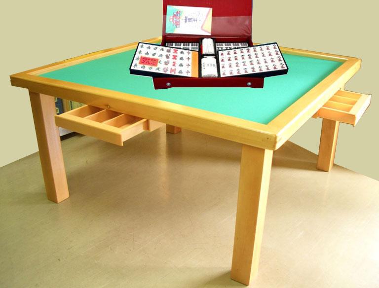 麻雀セット 折りたたみ式座卓麻雀卓(引出し付)と麻雀牌さんごのセット
