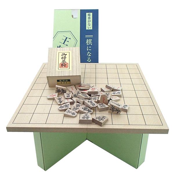 木製将棋盤セット 実用新案の棋になる折将棋盤と木製楓押し駒裏赤(四大書体の1番人気書体の菱湖)桐箱入り