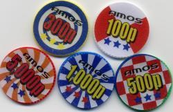ポーカーチップ P−21 (26mmX100枚 5色)アモスシール付