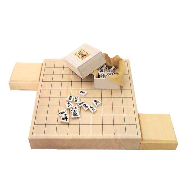 木製将棋盤セット 新かや2寸卓上接合将棋盤竹と木製白椿上彫将棋駒に駒台付