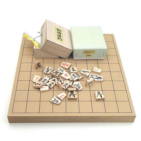 木製将棋セット 新桂1寸卓上接合将棋盤と特製源平将棋駒(裏赤)