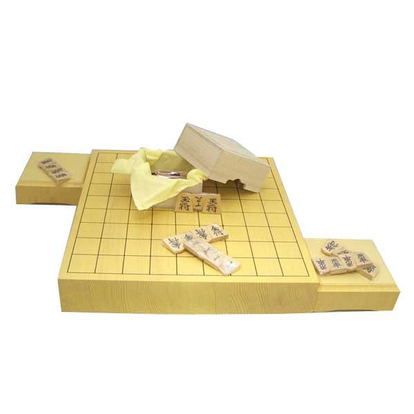 木製将棋盤セット 新かや2寸卓上接合将棋盤竹と白椿中彫将棋駒(山形天童将棋)・駒台