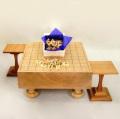新桂3寸足付将棋盤と黄楊上彫駒と駒台のセット