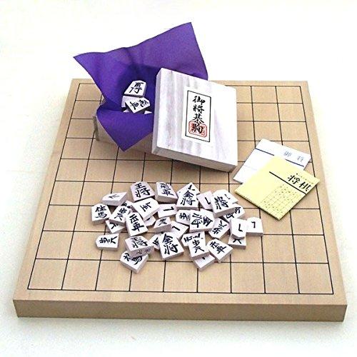 新桂1寸卓上接合将棋盤と白椿中彫駒のセット