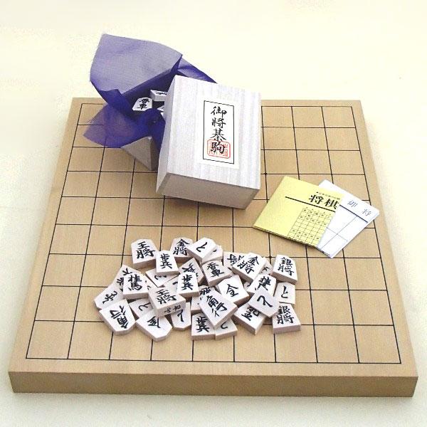 新かや10号卓上接合将棋盤竹と白椿上彫駒のセット