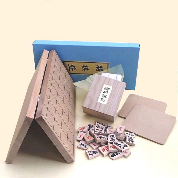 新桂6号折将棋盤と上別製源平駒 ・駒台付の将棋盤セット