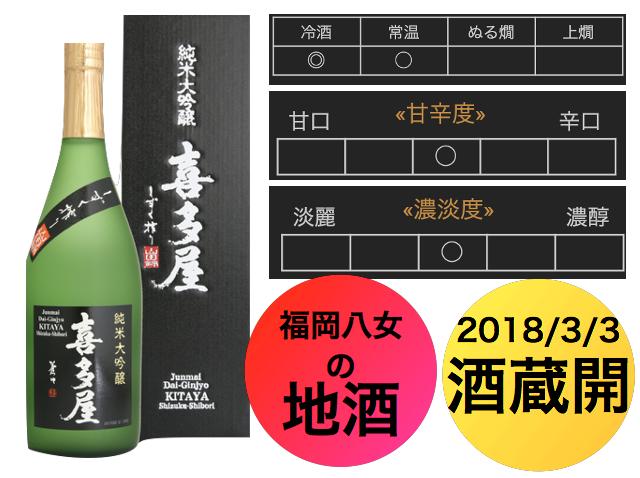 純米大吟醸 喜多屋 しずく搾り720ml★福岡八女の地酒