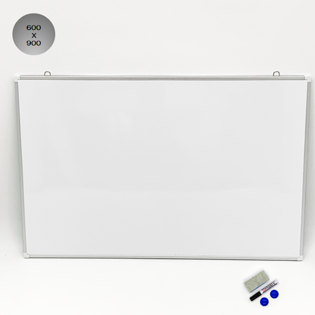 WB-M ホワイトボード600X900mm アルミフレーム 無地 /マーカー付