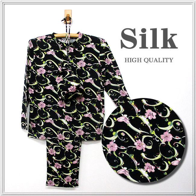 シックリリー【シルク100%パジャマ】婦人 ニットシルク丸首パジャマ ■ シルクジャージー生地の軽やか素材