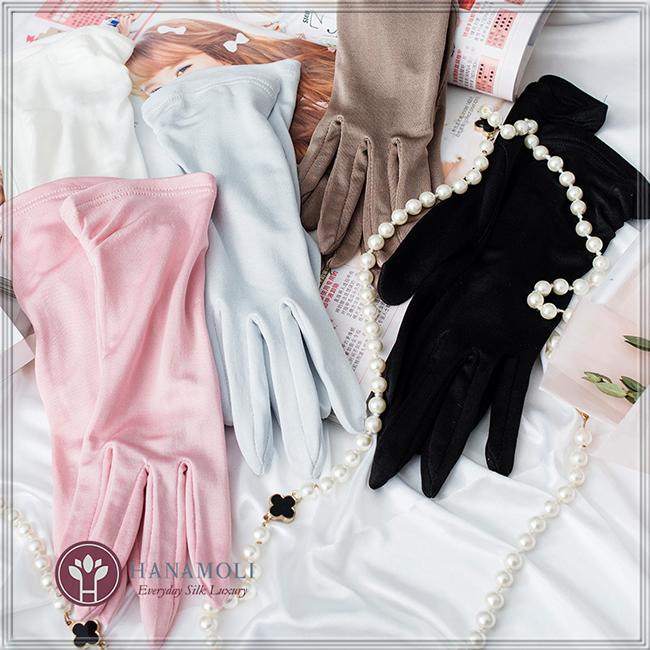 ■新色2追加【7カラーになりました】シルク100% 優しい絹手袋【片側タックデザイン】