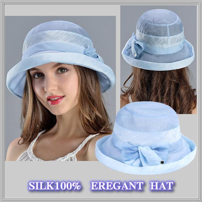 【受賞記念】★透け感がエレガントな【シルクの帽子】紫外線対策にも♪【エンジェルブルー】