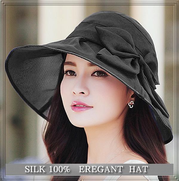 透け感がエレガントな【シルクの帽子】つばが広めで紫外線対策にも♪【ブラック】