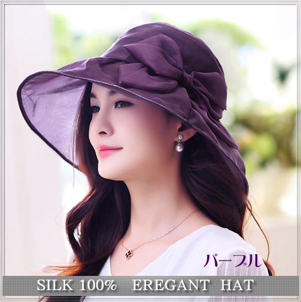 透け感がエレガントな【シルクの帽子】つばが広めで紫外線対策にも♪【パープル】