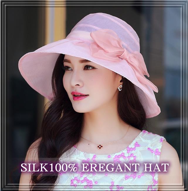 透け感がエレガントな【シルクの帽子】つばが広めで紫外線対策にも♪【ロイヤルピンク】