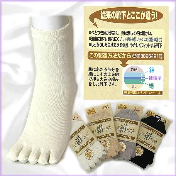 肌シルク・外側コットン 【5本指】婦人靴下 日本製