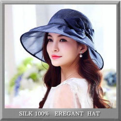 透け感がエレガントな【シルクの帽子】つばが広めで紫外線対策にも♪【ネイビー】