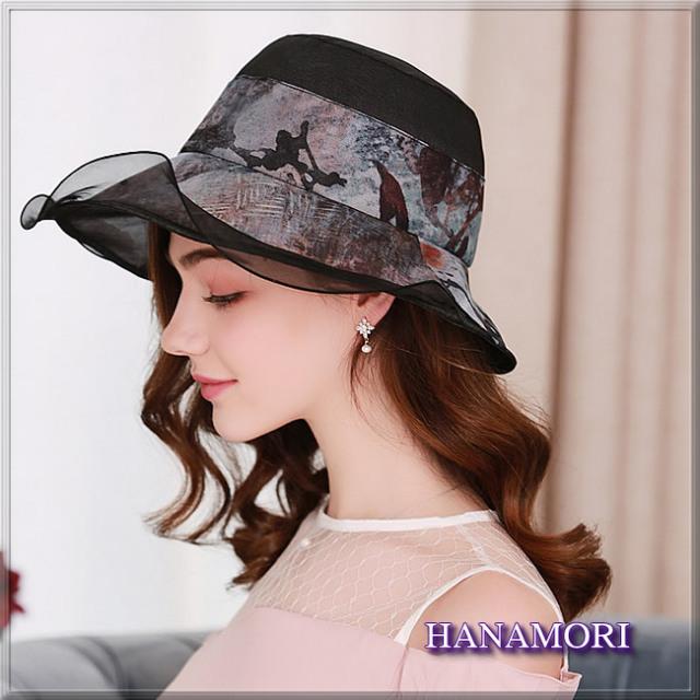 【受賞記念】★プリントデザインの【シルクシフォン帽子】紫外線対策にも♪【ブラック】