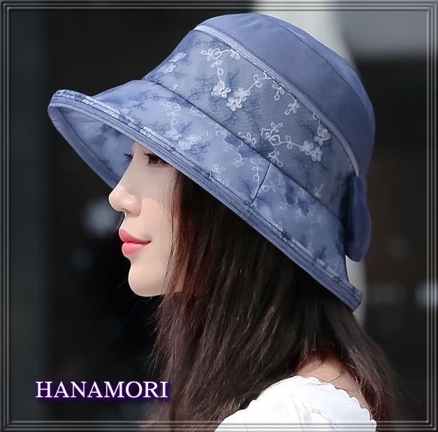 【受賞記念】★レースデザインの【シルクの帽子】紫外線対策にも♪【ブルー】