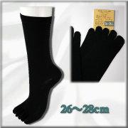 大きいサイズ・シルク【5本指】メンズクルーソックス  絹紡糸